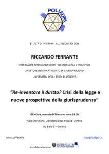 """""""Re-inventare il diritto?"""" – incontro con Riccardo Ferrante"""